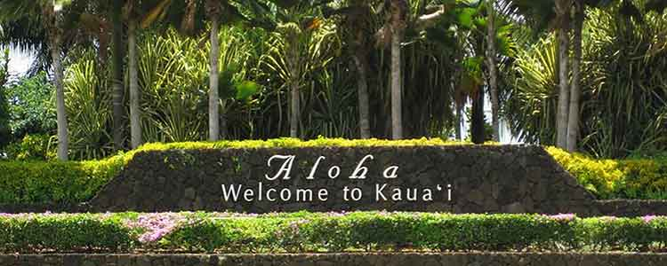 Kauai, Hawaii, welcome sign
