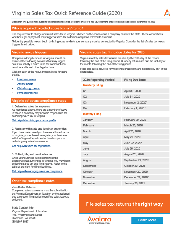 What Is The Sales Tax In Virginia >> Virginia Sales Tax Quick Reference Guide Avalara