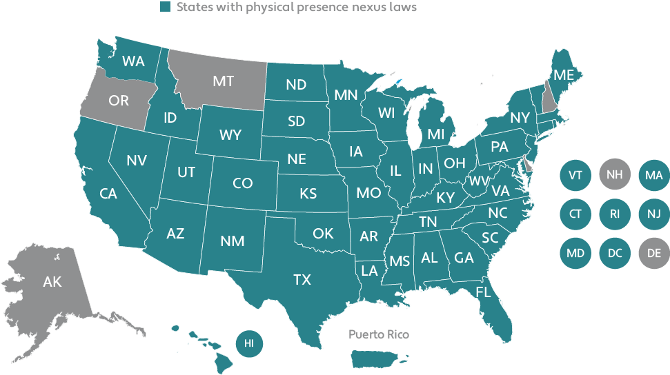 Map of US Physical Presence Nexus Laws