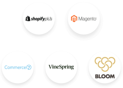 Shopify Plus, Magento, Commerce7, WineSpring, and Bloom Logos