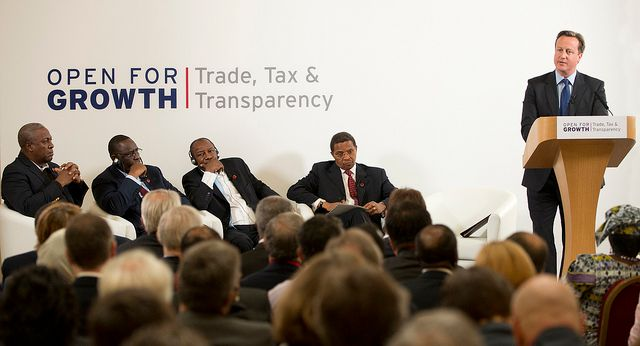 Prime Minister Cameron speaking at the 2013 G8 Tax, Trade and Transparency Conference.