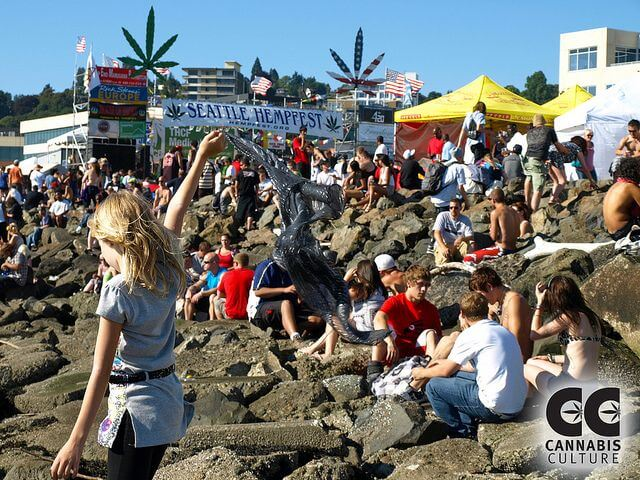 Seattle Hempfest. Mr. Colbert does not approve.