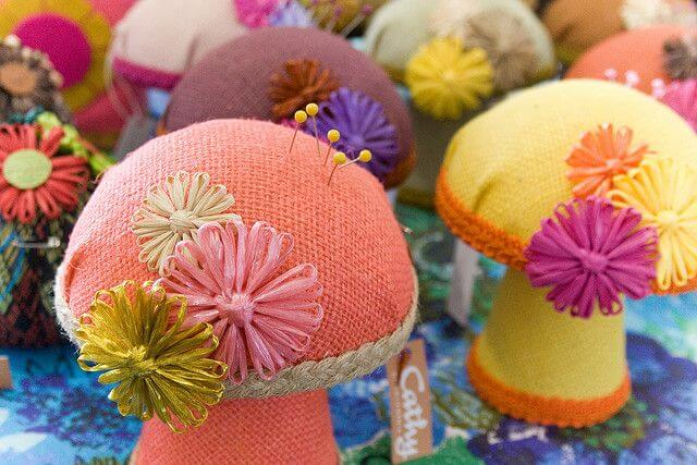 Decorative mushroom pincushions? Subject to sales tax at Nebraska craft fairs.
