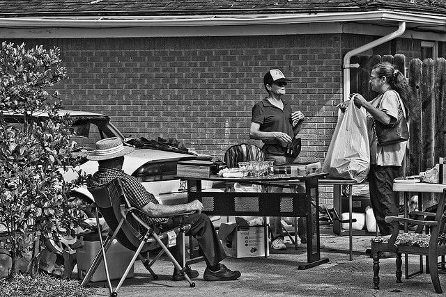 All city garage sale in Rosebud, Texas.