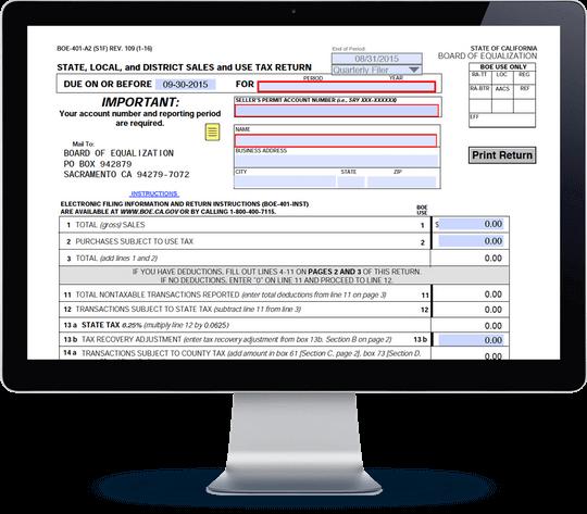 California Sales Tax Form BOE-401-A2 | Avalara TrustFile