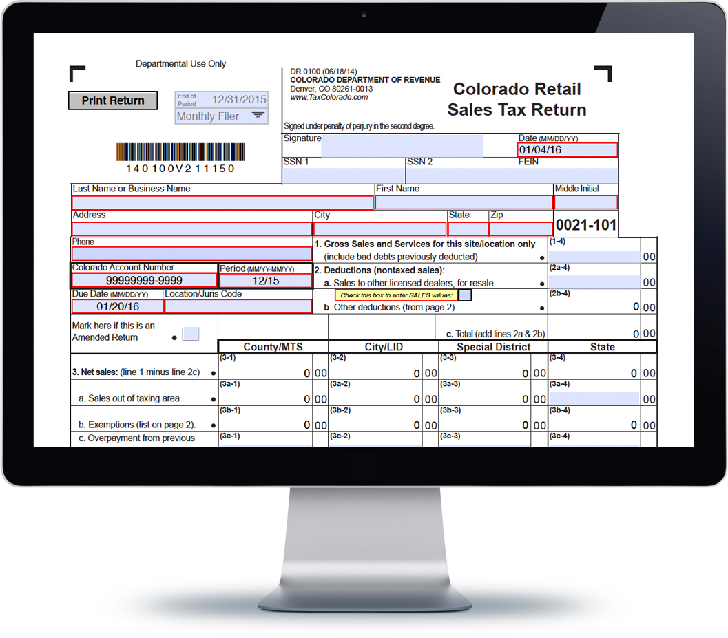 Colorado Sales Tax Form DR-0100
