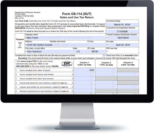 form os 114 Connecticut Sales Tax Form OS-114 | Avalara TrustFile