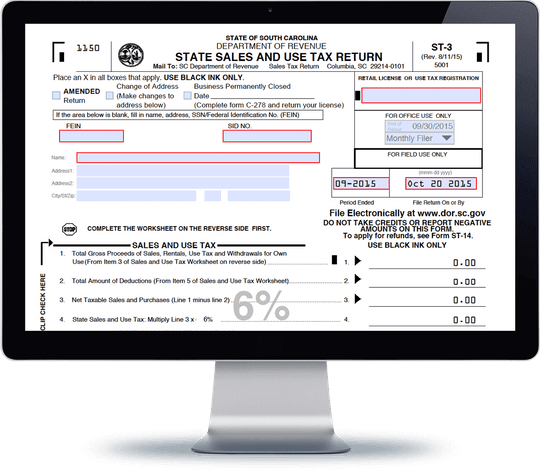 South Carolina Sales Tax Form ST-3