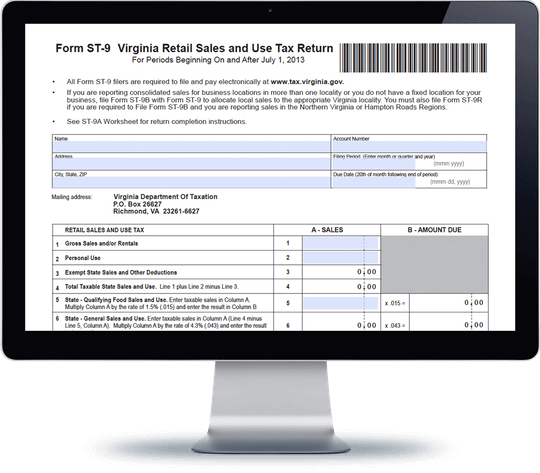 Virginia Sales Tax Form St 9 Avalara Trustfile