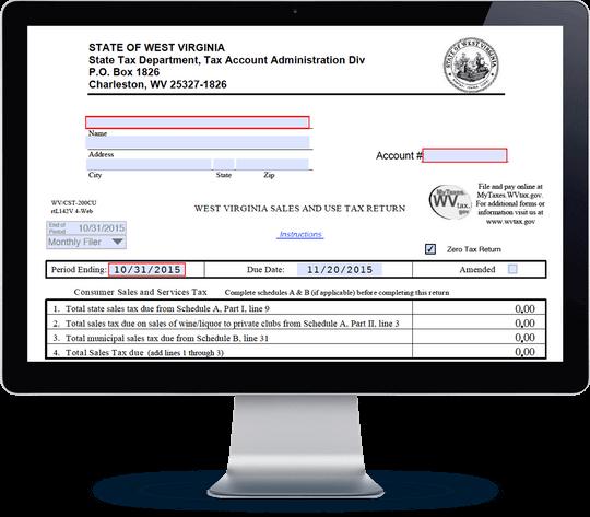 West Virginia Sales Tax Form CST-200CU | Avalara TrustFile